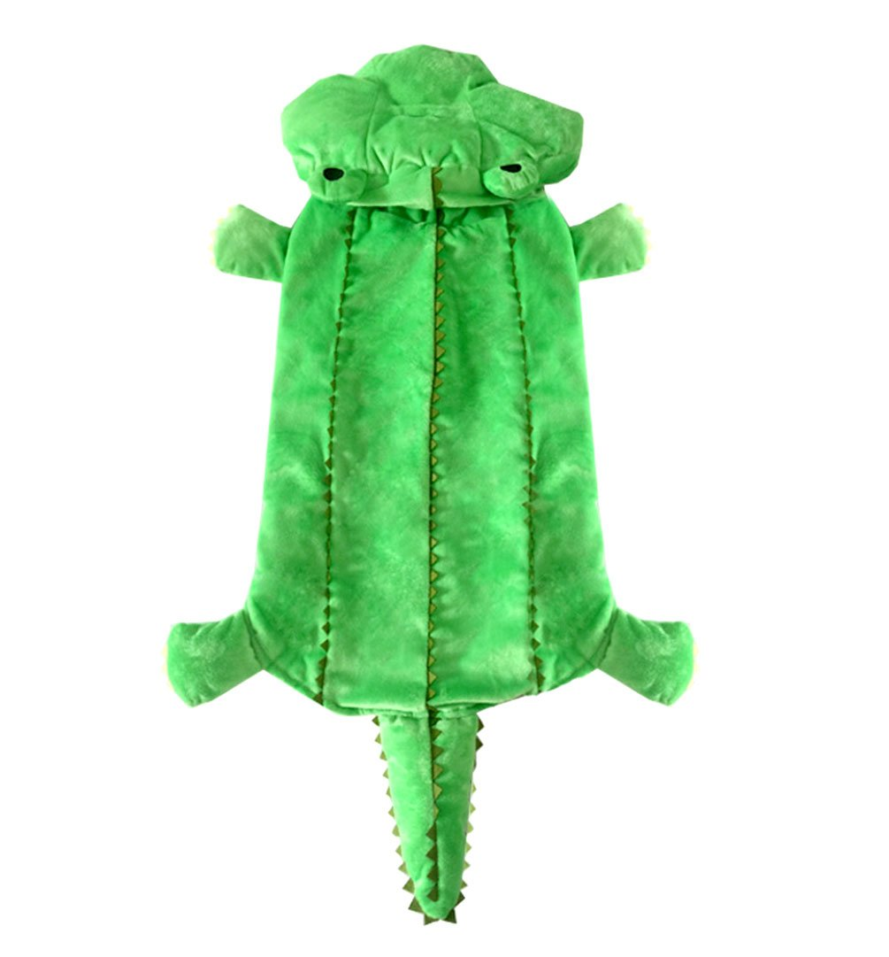 4XL SMALLLEE_LUCKY_STORE Medium Dog Winter Crocodile Hooded Coat Costume for Female Male, Green, 4X-Large