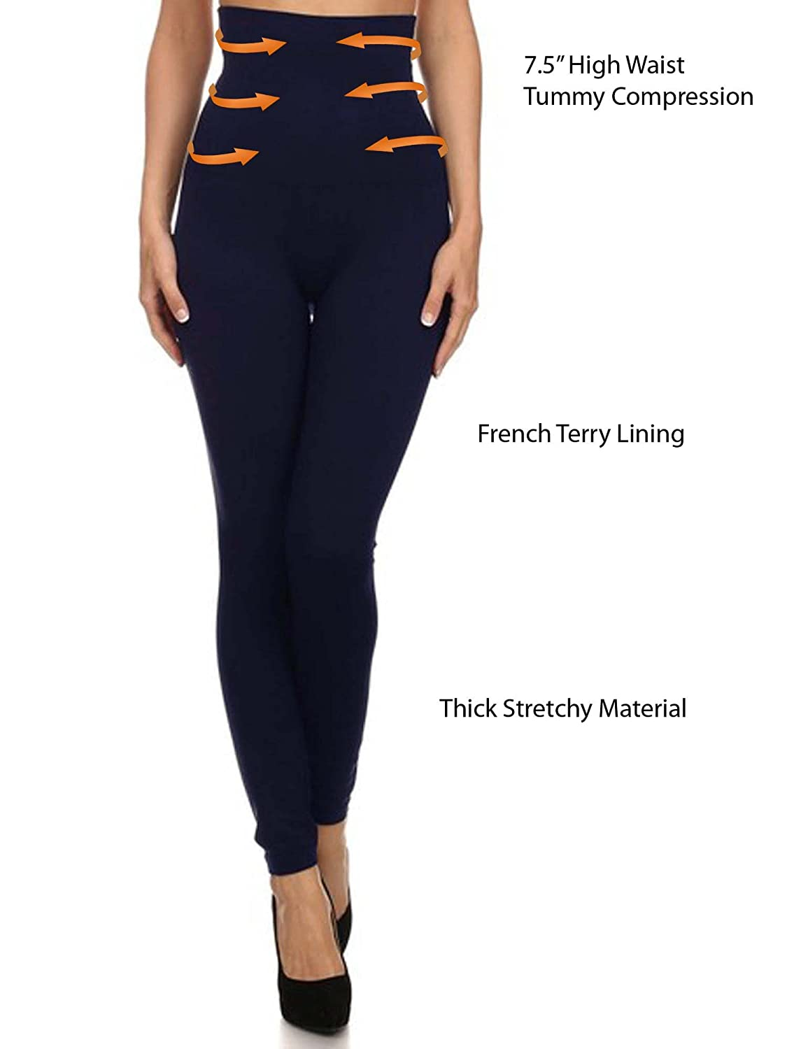 7b7829d1dec583 Premium Women Thick High Waist Tummy Compression Slimming Leggings French  Terry Lining at Amazon Women's Clothing store: