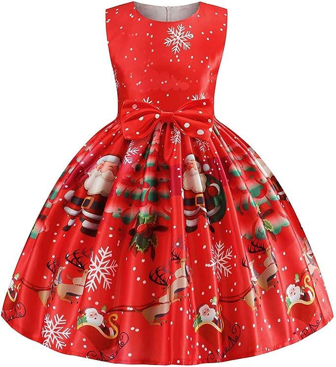 Bébé Enfants Filles Deer Santa rayé PRINCESSE Chrismas Robes Costume nouveau