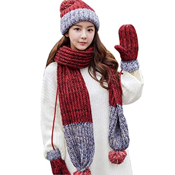 ff409c81903 Image Unavailable. Warm Hat Scarf Gloves Three-Piece Set Women s Winter  Fashion Knit Scarf Birthday and Christmas