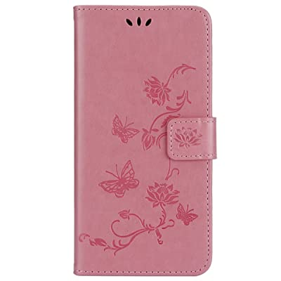 IKASEFU Emboss butterfly Floral Pu Leather Wallet Strap Case Card Slots Shockproof Magnetic Folio Flip Kickstand Feature Protective Soft Bumper Cover Case Compatible with Samsung Galaxy A8 2020,Pink: Musical Instruments