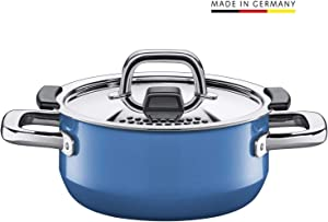 Silit pan Ø 16cm, Approx. 1.3l, Nature Blue. Metal Control lid, Made in Germany, Silargan Functional Ceramic, Suitable for Induction hobs, Dishwasher Safe