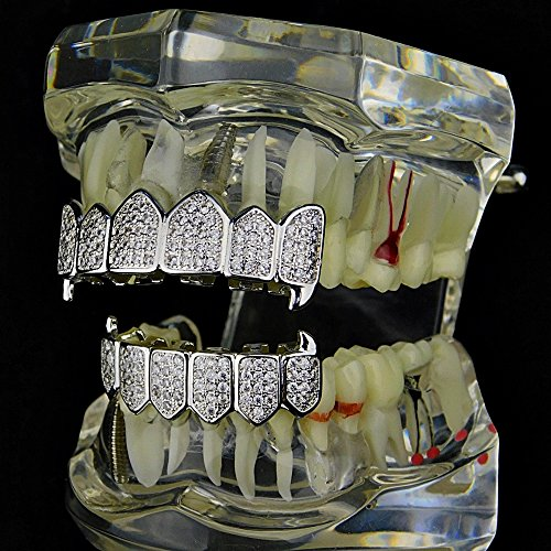 Premium Fang Grillz Set CZ Cubic Zirconia Bling Silver Tone Top & Bottom Teeth Vampire Hip Hop Grills by Bling Cartel (Image #3)