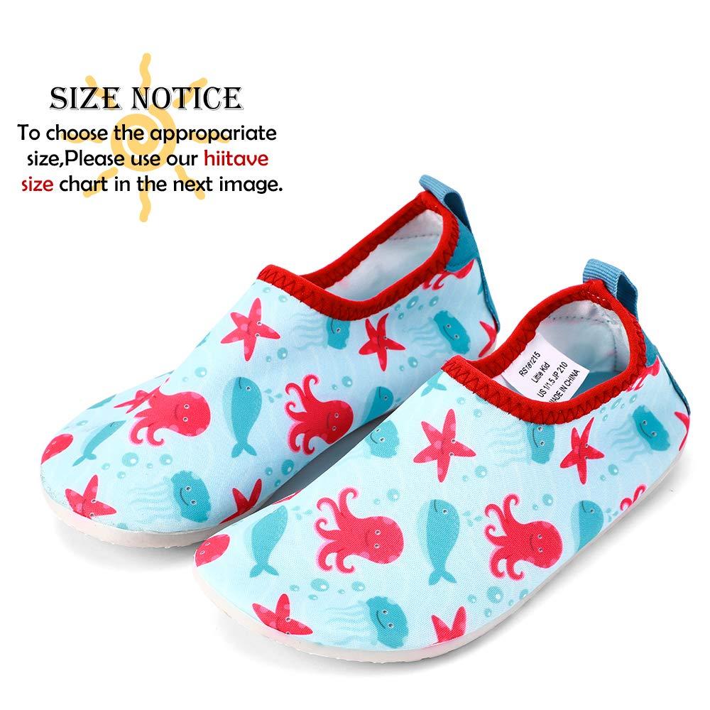 hiitave Kids Water Shoes Non-Slip Quick Dry Swim Barefoot Beach Aqua Pool Socks for Boys /& Girls Toddler