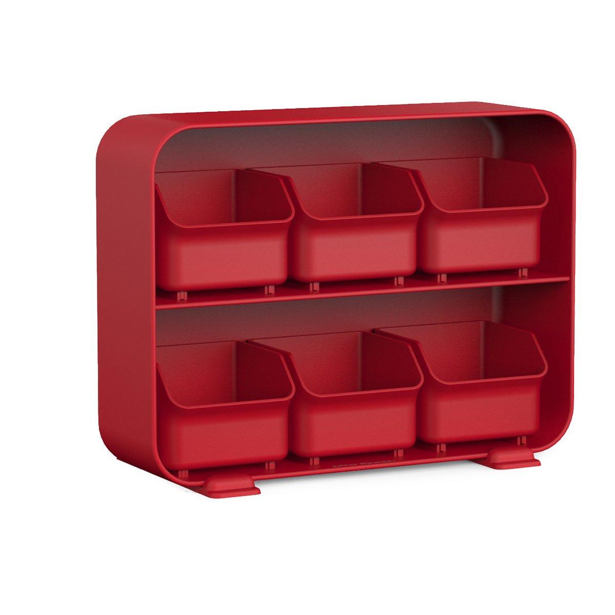 Handy 'Clutch' Plastic 6 Drawer Tea Bag Holder (Red)