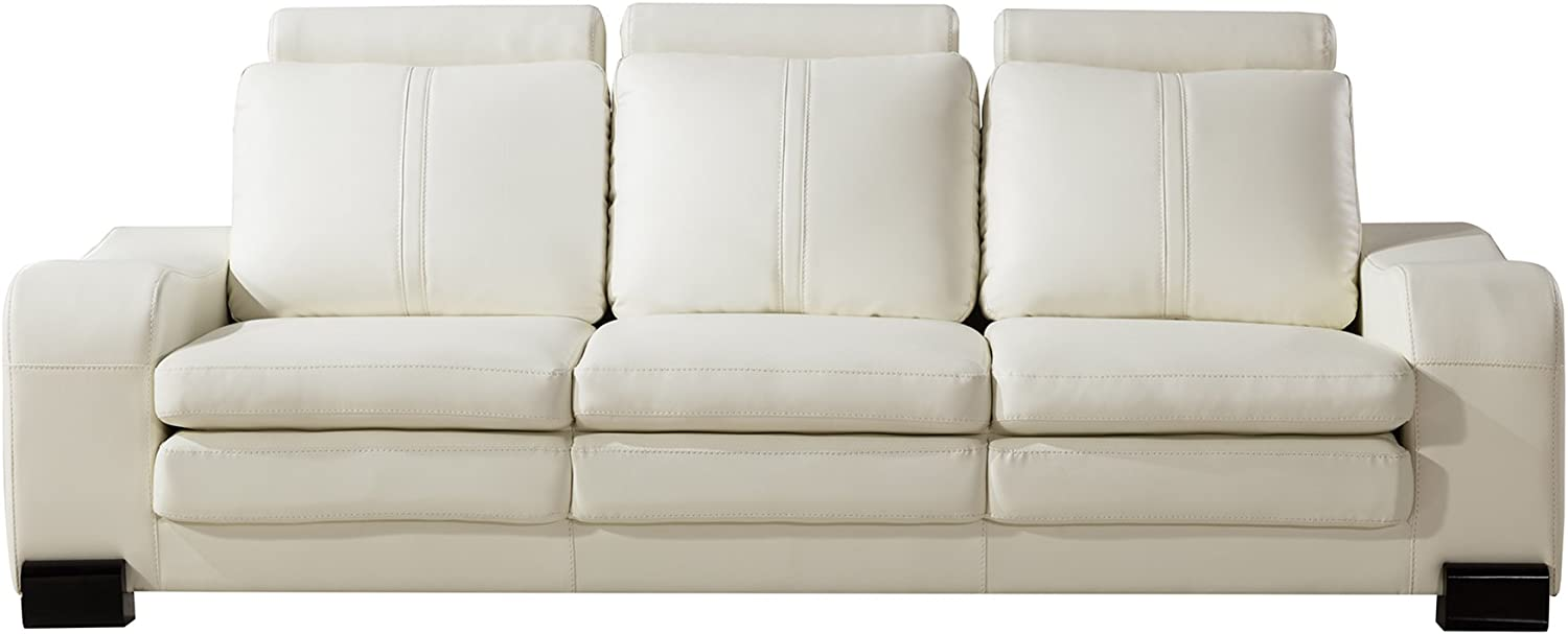 American Eagle Furniture Mid Century Modern Upholstered Living Room Sofa and Ottoman Set, Set of 2, Ivory