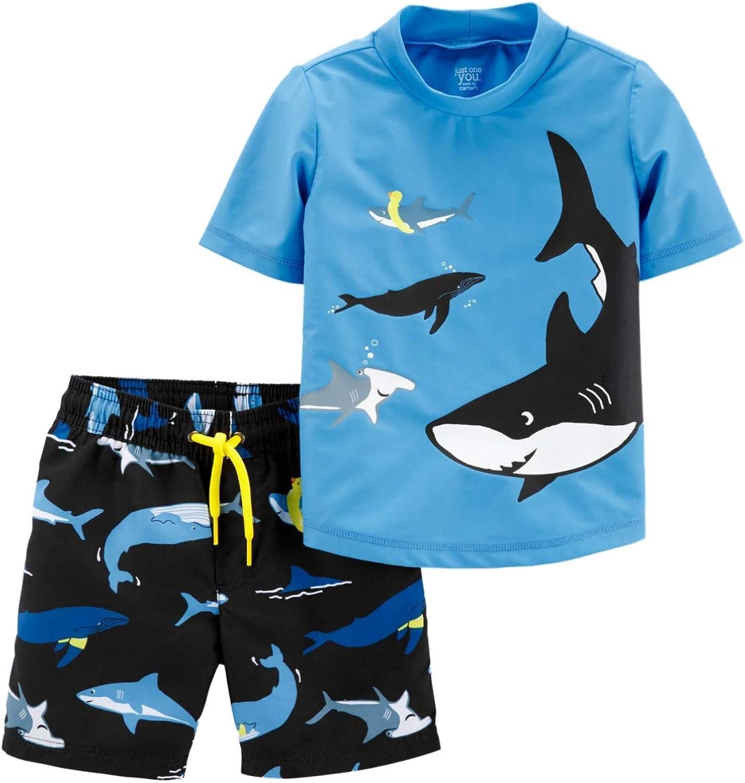 Carter's Infant Boys Blue Shark & Whale Rash Guard Shirt & Swim Trunks