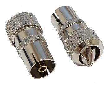 AERZETIX: Conectores para cable coaxial de antena TV hembra metálico (2 piezas)