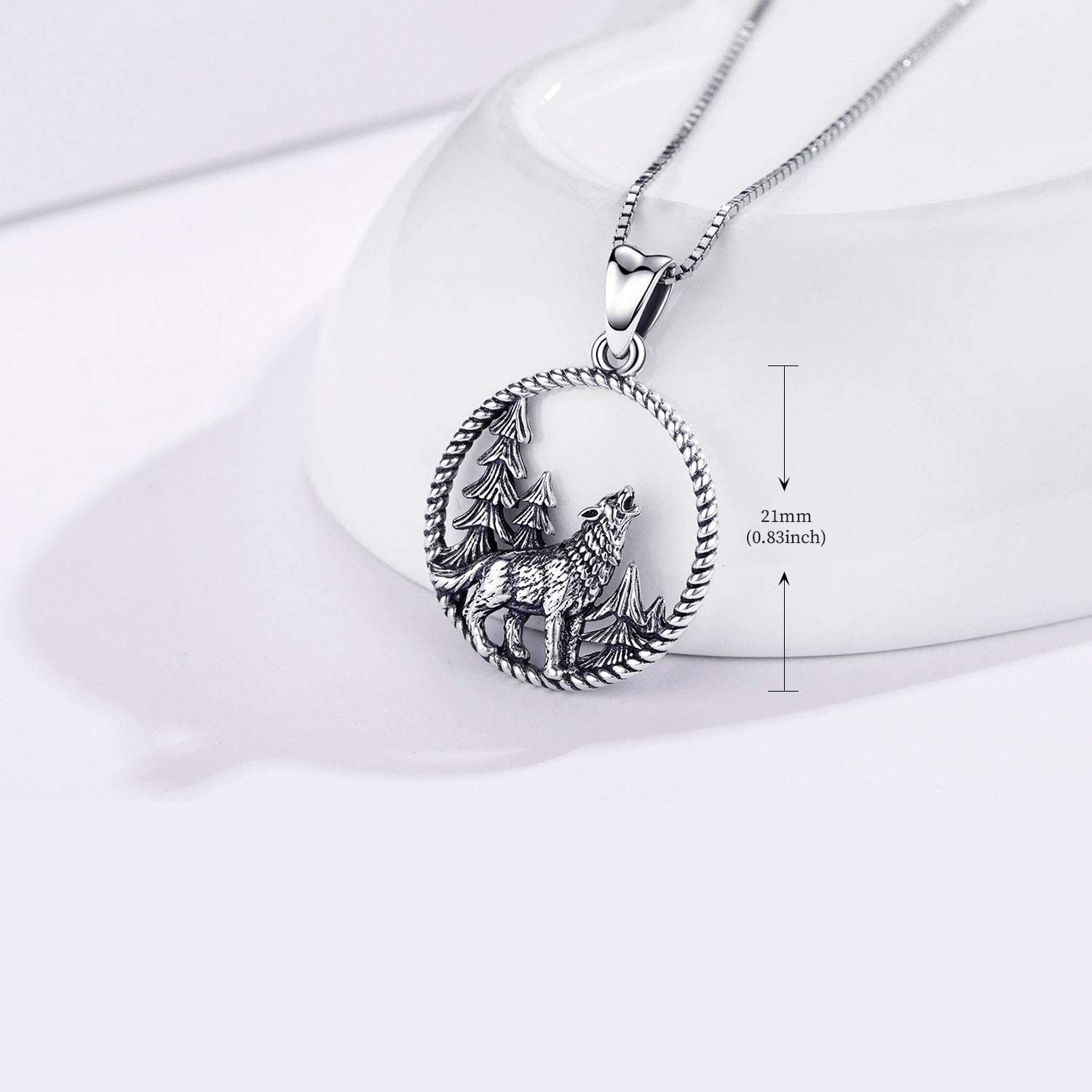 Wolves Jewellery for Men Viking Necklace Wolf Gift Set Jewellery for Women Boyfriend Children Brother Wolf Necklace Sterling Silver Wolf Pendant