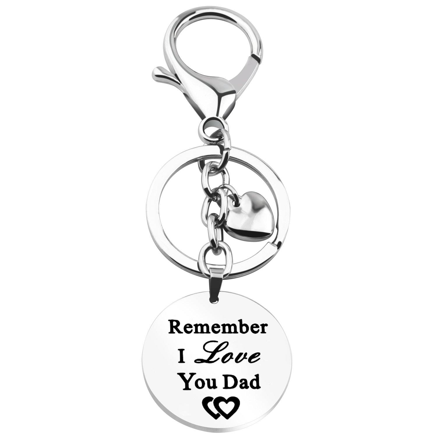 Gzrlyf Remember I Love You Mom Dad Bracelet Keychain Engraved Words Jewelry Inspirational Gift Parents Gift (Remember I love you dad keychain)