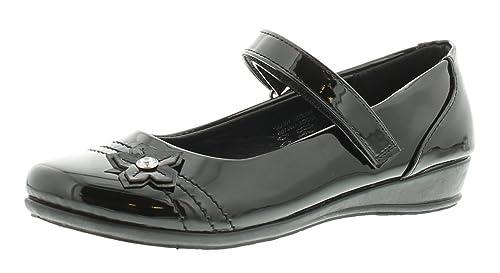 NUEVO niña / Infantil Negro Simple Bar CIERRE ADHESIVO Zapatos de colegio - Negro - GB Tallas 1-13 - Negro, 30.5 EU: Amazon.es: Zapatos y complementos