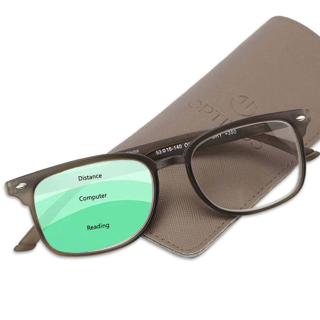 Progressive Reading Glasses Men & Women - No Line Gradual Multifocal Lenses, 3 Magnification Strengths in 1: +150 Reading, 100 Computer Desk, 50 Distance/Surroundings | Bonus Pouch Included by Optix 55