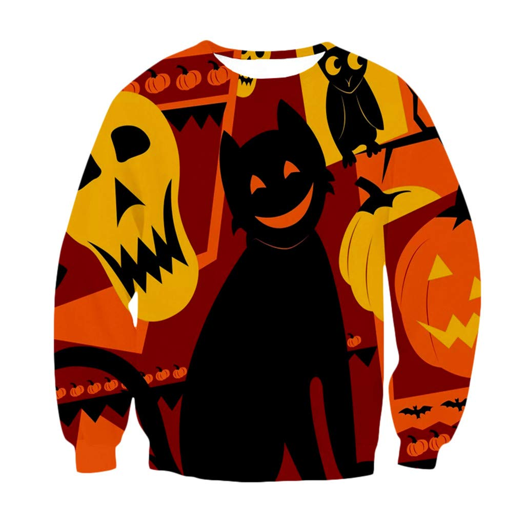 Women's Hoodie Sweatshirt Tops 3D Print Party Long Sleeve Pullover O-Neck Sweatshirt for Make Up Halloween by Bollysky-Hoodies Sweatshirt