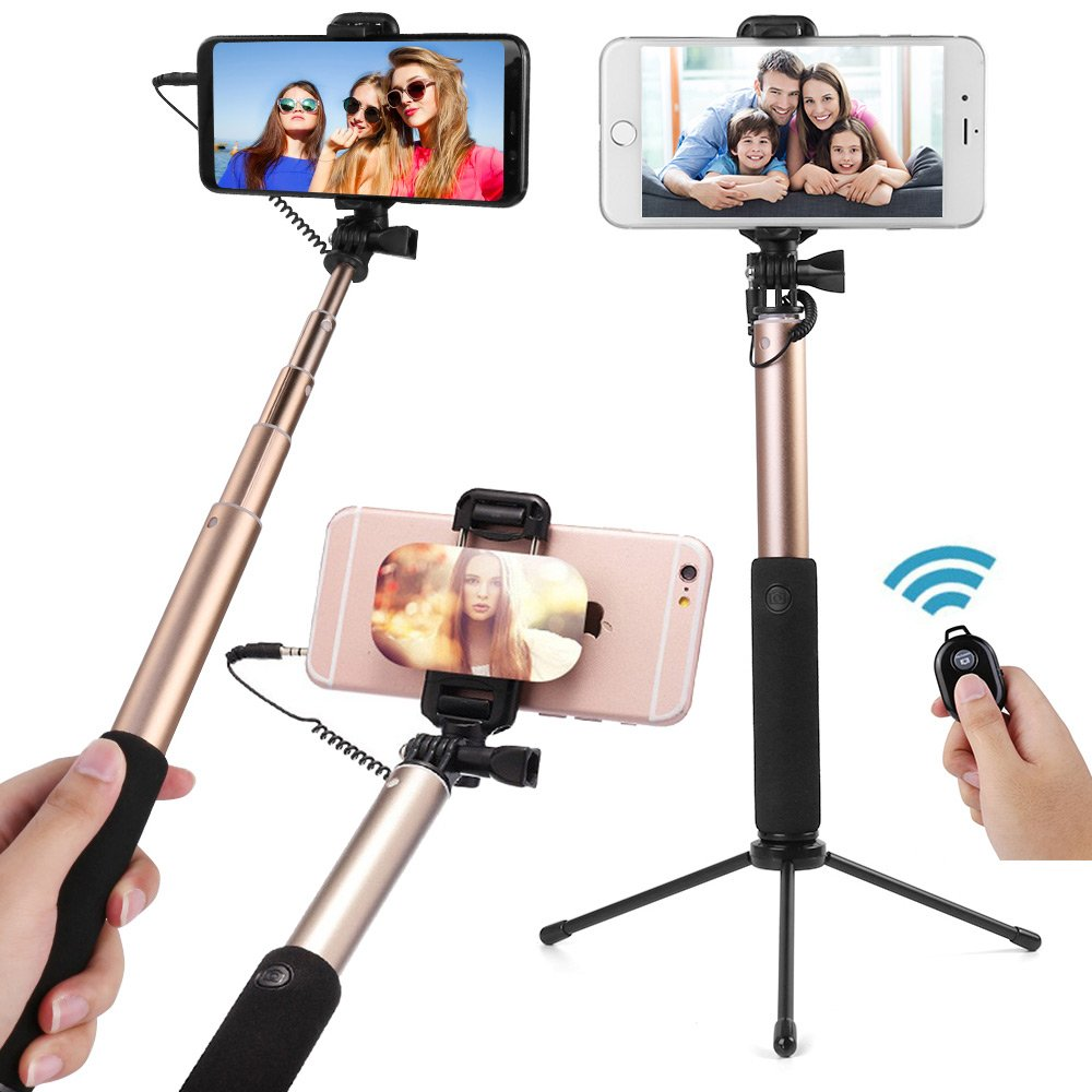 High End Alloy Selfie Stick with Bluetooth Remote, Tripod Stand, Rear Mirror, Rotatable Phone Holder for iPhone 8/8P/X/7/7P/6S/6P, Galaxy Note8/S8/S7, LG V30/V20 and More (Silver) Roxie