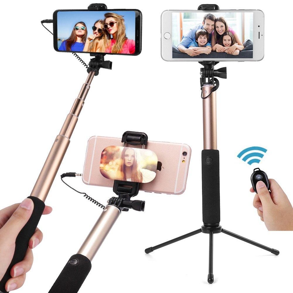 Premium Wireless Selfie Stick Extendable Aluminum Alloy Monopod Samsung Galaxy S9/S9 Plus/S8/S8 Plus/Note 8/S7 Edge/S6/S5/J8/J7/J6/J3/A6 Plus/A6/A8/A8 Plus, HD Photos & Videos Roxie