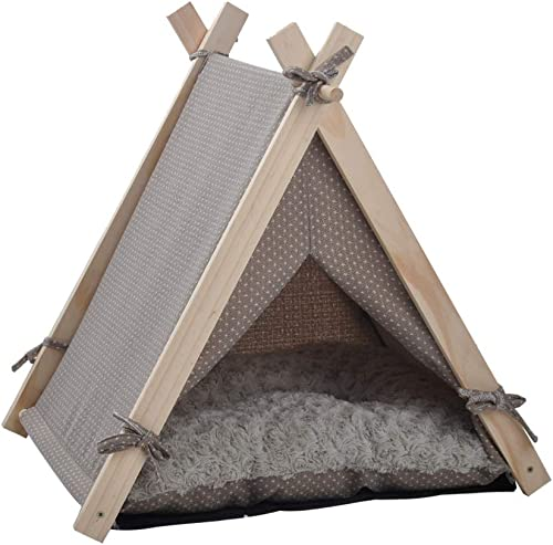 KARMAS PRODUCT Pet Teepee Tent Dog Cat Bed Kennel Portable Puppy Kitten Rabbit House with Warm Soft Comfort Cushion