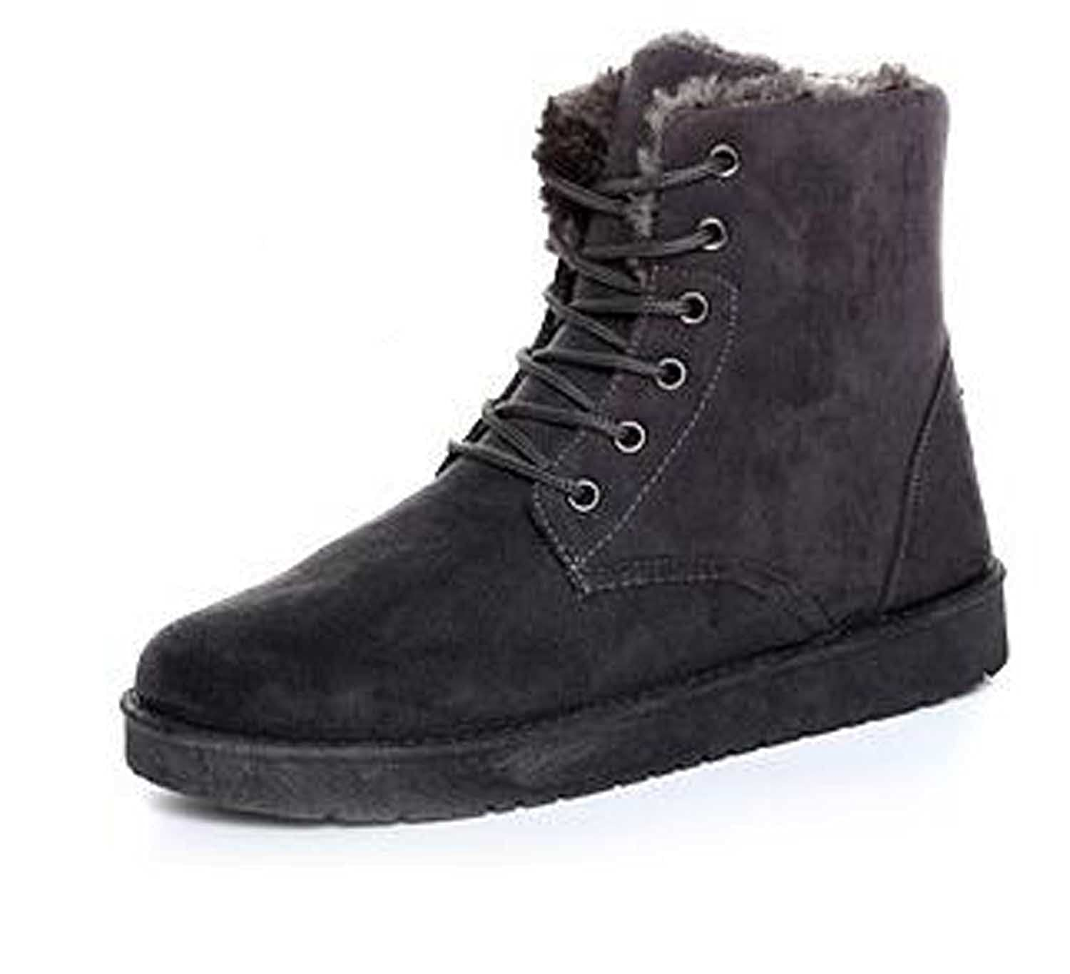 Upsale Mens Classic Short Ankle Solide Laceup Fabric Winter Snowboots Travelshoes