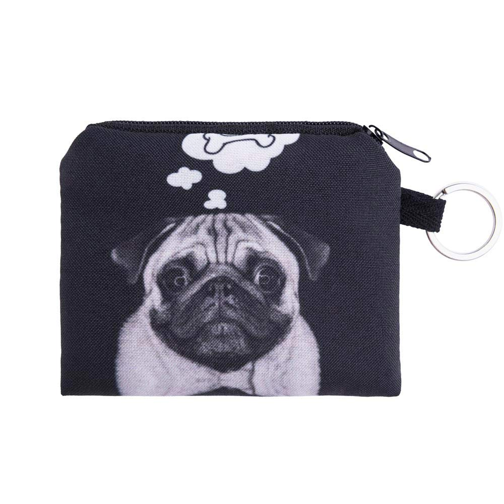 JJLIKER Cute Cartoon Cat Dog Animal Print Mini Wallet Zipper Purse Small Bag Coin Key Bags Fashion Black
