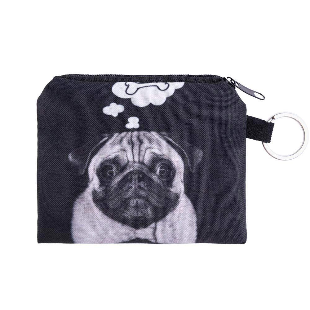 JJLIKER Cute Cartoon Cat Dog Animal Print Mini Wallet Zipper Purse Small Bag Coin Key Bags Fashion Black by JJLIKER--Women bags (Image #1)
