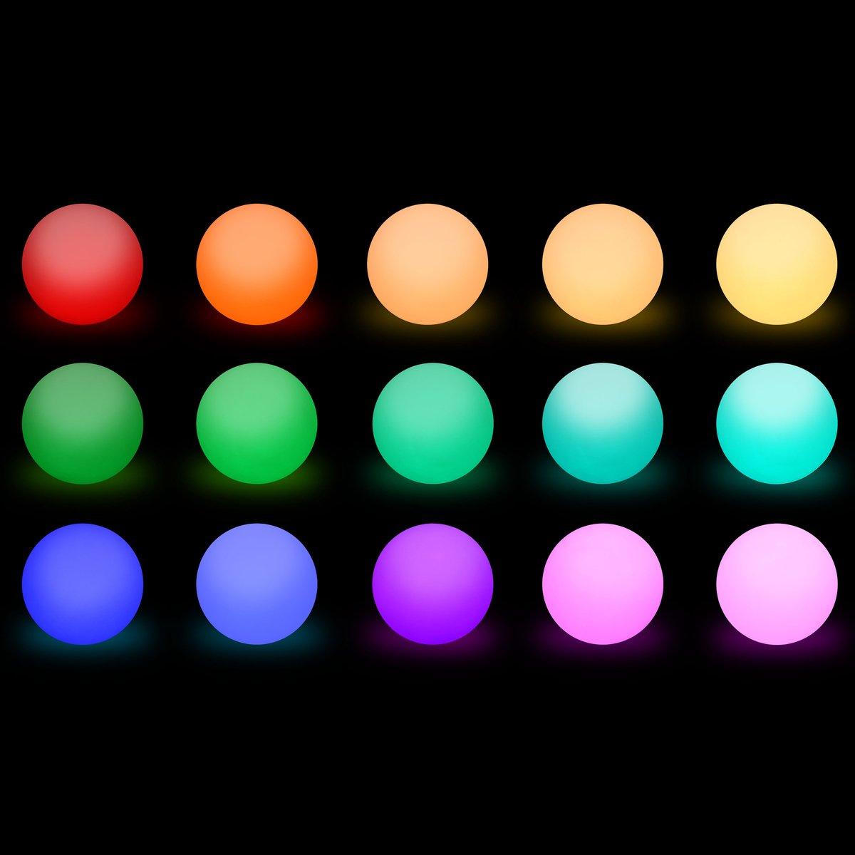 ESFERA LED /Ø30CM Alices Garden Iluminacion exterior 16 colores LED para jardin 50cm Bola luminosa multicolor recargable sin cables