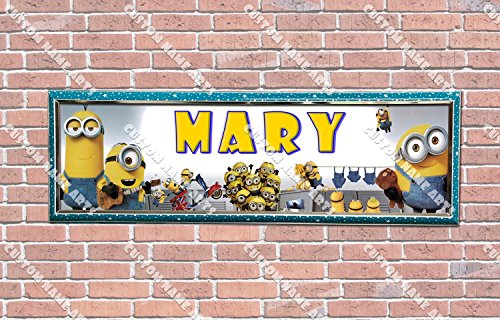 Personalized Customized Despicable Me 2 Minions Poster With Frame, With Your Name On It, Party Door Poster, Room Art Decoration, Wall Decor -