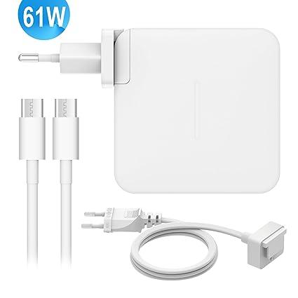 Cargador para MacBook Pro 13 Pulgadas,61W/29W USB C Adaptador de Corriente PD 20.3V/3A Cargador Reemplazo para Macbook Pro 12/13 Pulgadas con 2m Cable ...