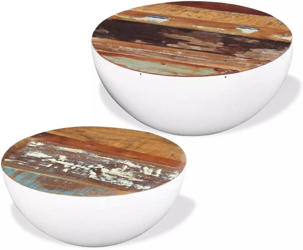 weilandeal conjunto de 2 mesas bajas bajo forma de cuenco de madera de Recuperation massifdimensions: aproximadamente 60 x 60 x 30 cm (L x l x h) para la gran, 50 x