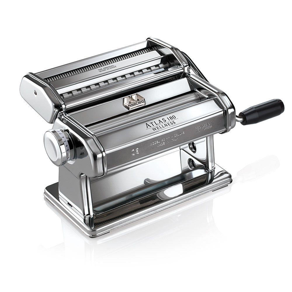 Marcato Atlas 180 Pasta Machine, 8341, Made in Italy, Includes 180-Millimeter Pasta Machine with Pasta Cutter, Hand Crank, and Instructions by Marcato