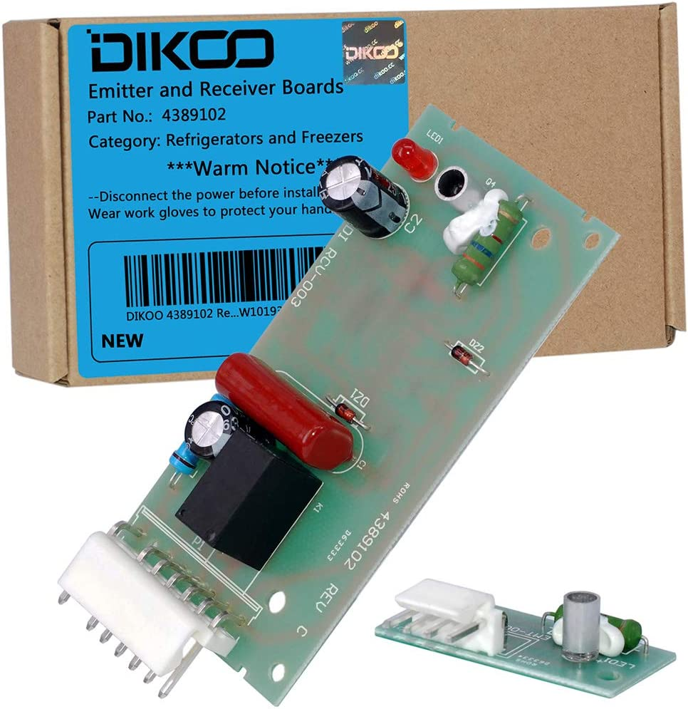 DIKOO 4389102 Refrigerator Ice Maker Sensor Control Board Kit for Whirlpool, Kenmore, Maytag, Kitchen Aid ReplacesW10757851 2198586 W10193840 ADC9102