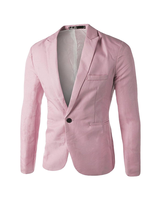 Bestgift Mens Solid Color Slim One Button Blazer