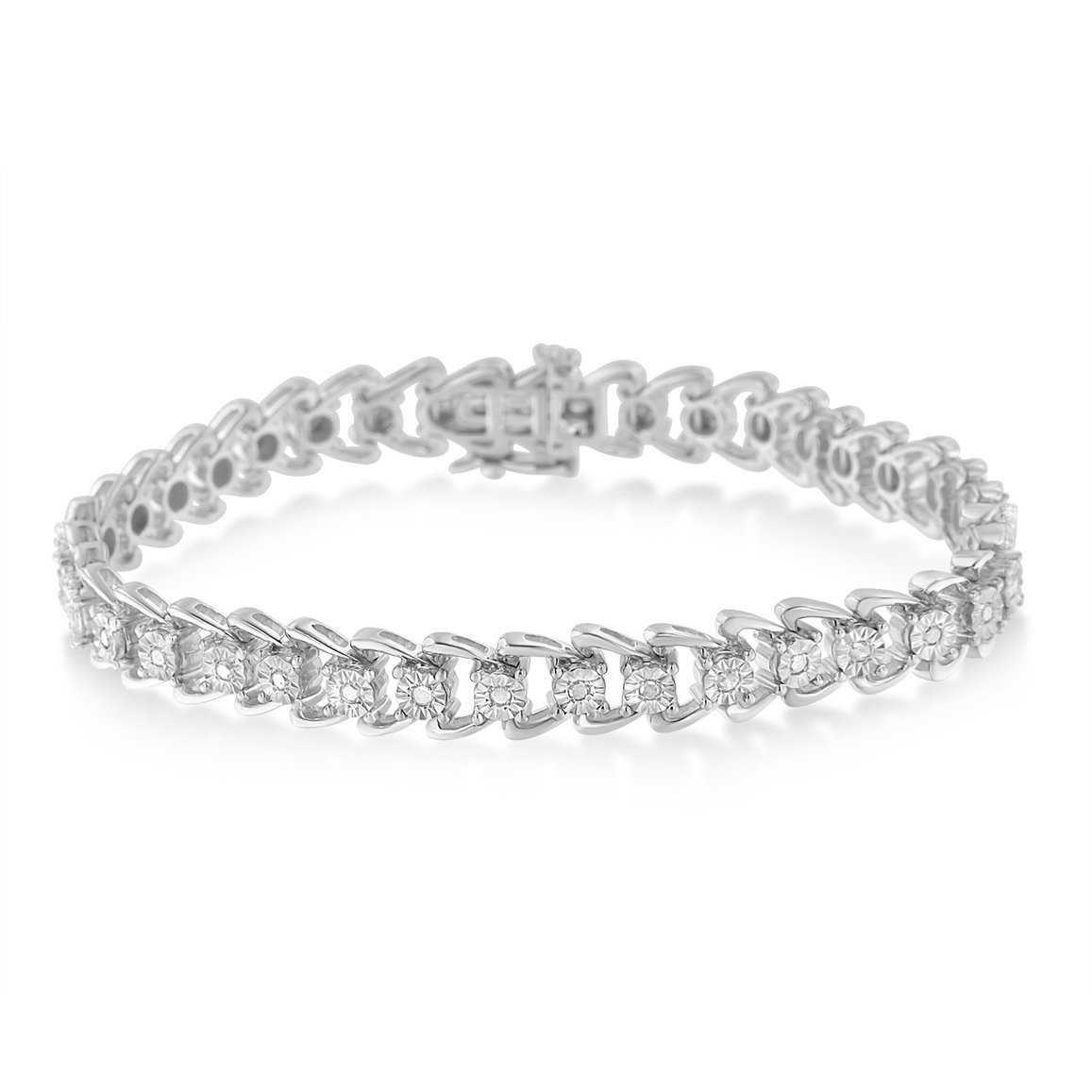 Sterling Silver Diamond Wave Style Tennis Bracelet (0.5 cttw, I-J Color, I3 Clarity)