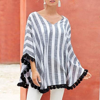 Wawer Camisa Casual Mujer Boho Blusa Moda Mujer Túnico Shirt ...