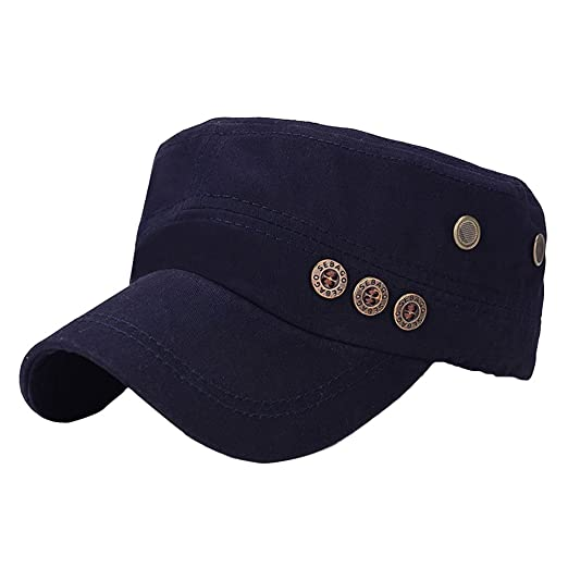 Amazon.com  Mens Fashion Military Peaked Cap Adjustable Flat Button ... 56a876df2af