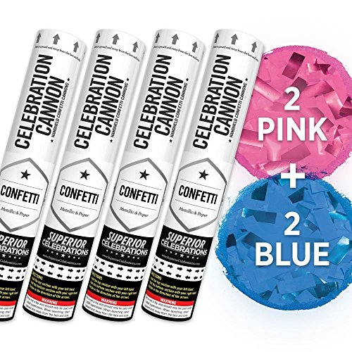 Gender Reveal Confetti Cannon - 4 Pack (2 Pink Cannons & 2 Blue Cannons)