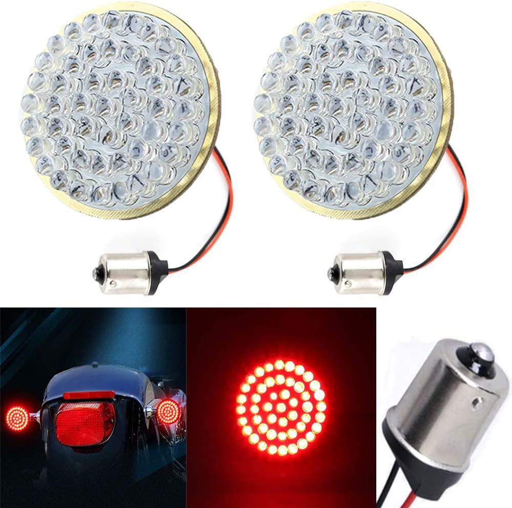 12V Motorcycle Tail Running Light for Harley Street Glide Sportster 1200 2 Inch Bullet Tail Light Dyna DTR2017 1157 Front 1156 Rear LED Turn Signal Road King Iron 883