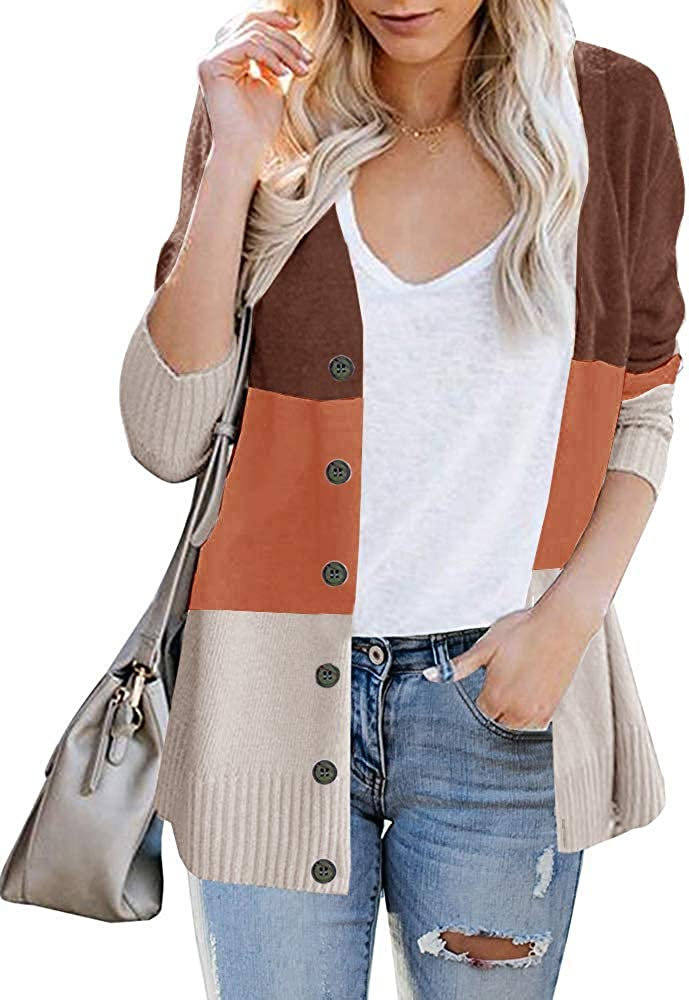 Womens Spring Lightweight Color Block Cardigan Open Front Long Sleeve Button Down Knit Sweater