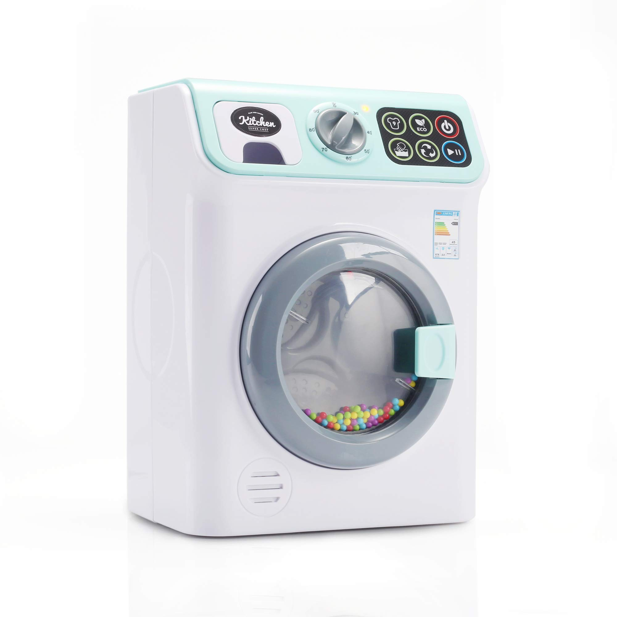 infunbebe Jeeves Jr. Washing Machine Electronic Toy Washer with Realistic Sounds and Functions, Pretend Role Play Appliance Toys for Toddlers