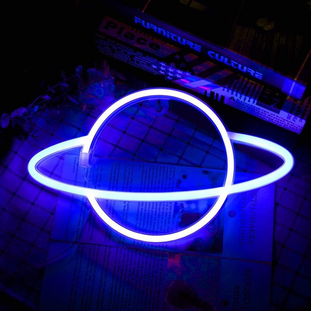 Wovatech Planet Neon Signs - Letreros de neón con base LED Lámpara de mesa Luces Azul Rosa Luz nocturna - Funciona con batería o USB para decoración de habitación de niños Fiesta de cumpleaños Boda
