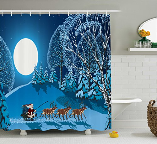 Shower Curtain, Santa in Sleigh a Night with Full Moon in The Sky Snowy Winter Xmas Theme Print, Fabric Bathroom Decor Set with Hooks, 105 inches Extra Wide, Navy Blue ()