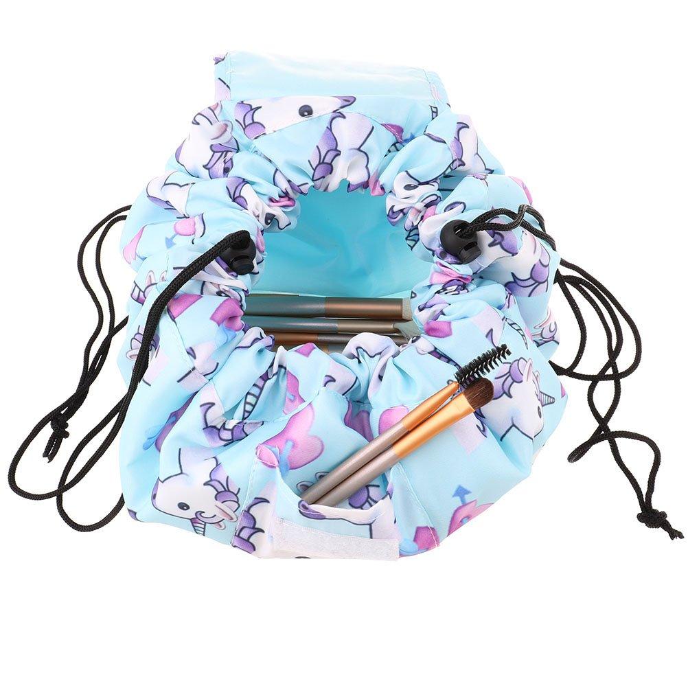 portable Maquillage Sac de rangement Grande capacit/é Voyage Lazy Trousse de toilette /étanche Magic Sacs avec fermeture /à glissi/ère bleu bleu Osun 1/PC Licorne Sac Cosm/étique Avec cordon