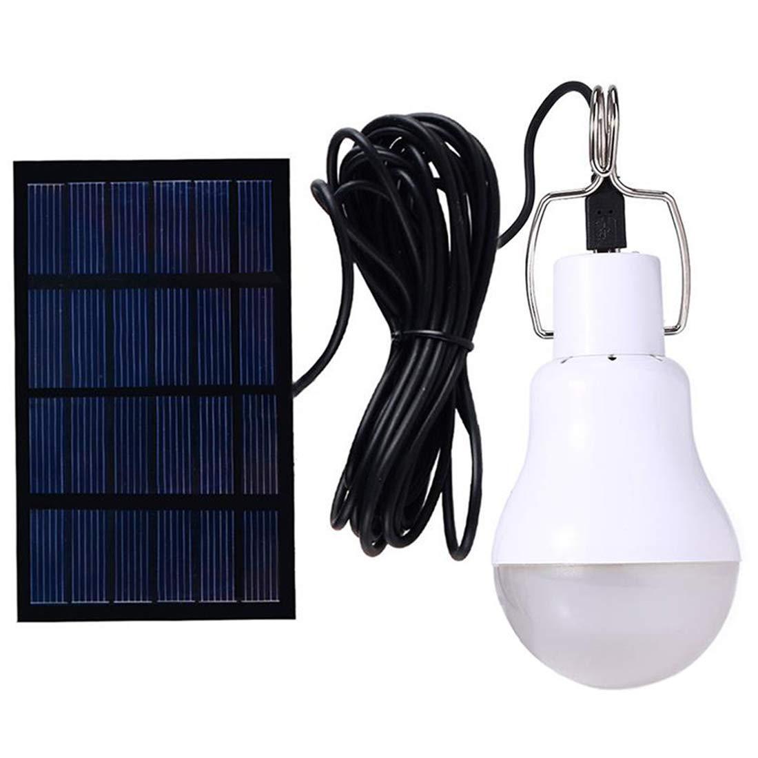 Funciona con energía solar lámpara LED bombilla luces de iluminación con control de luz auto encendido/apagado para Campamento tienda noche 130LM: ...
