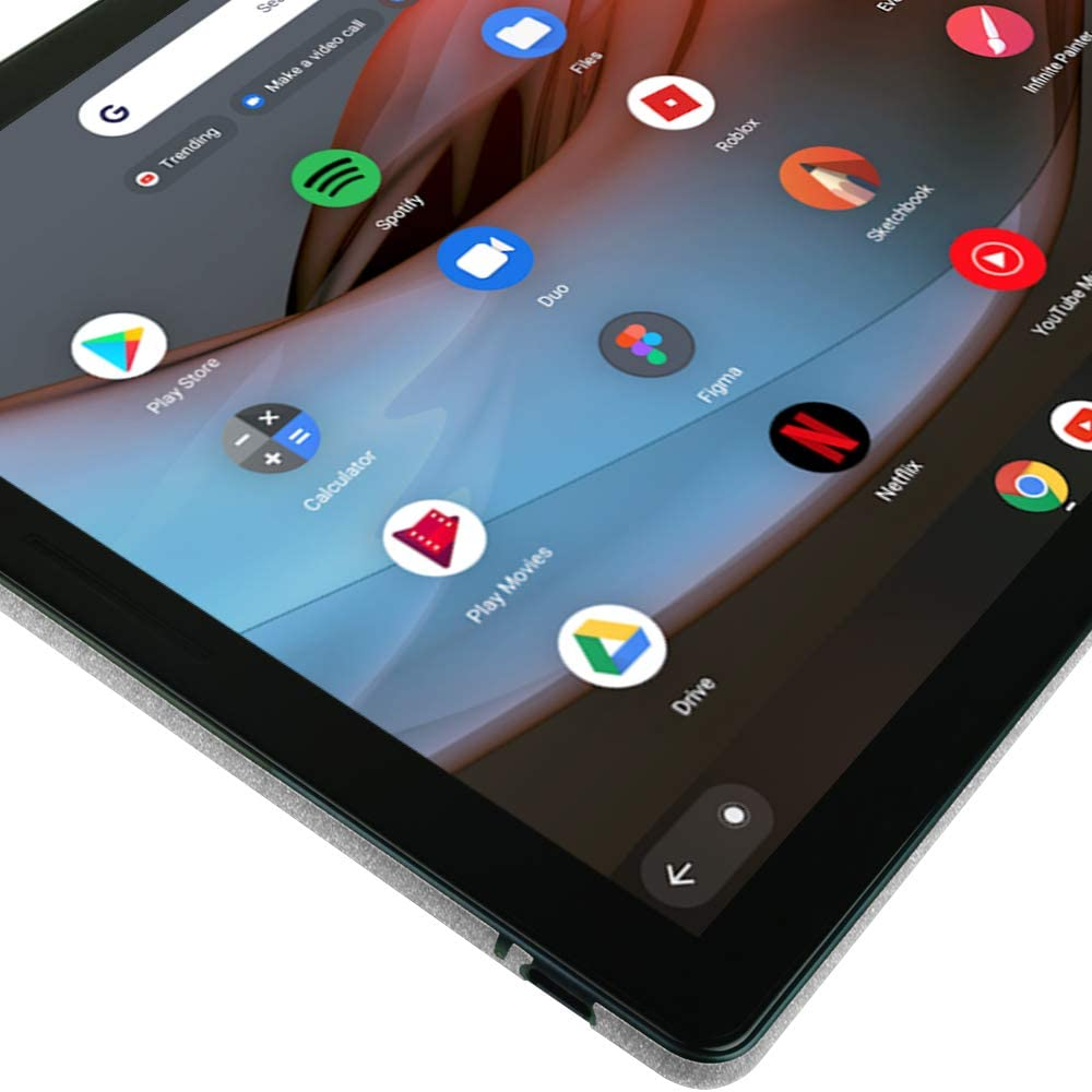 TechSkin with Anti-Bubble Clear Film Screen Protector Full Coverage Skinomi Brushed Aluminum Full Body Skin Compatible with Google Pixel Slate