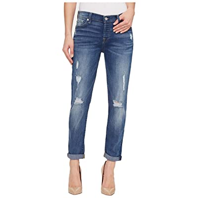 7 For All Mankind Women's Destroyed Josefina Boyfriend Mid Rise Jeans: Clothing