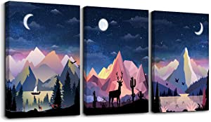 Abstract Mountain landscape Canvas Prints Wall Art for Living Room Abstract Geometry Wall Artworks Pictures Bedroom Decoration, 12x16 inch/piece, 3 Panels Home bathroom Wall decor moon night posters