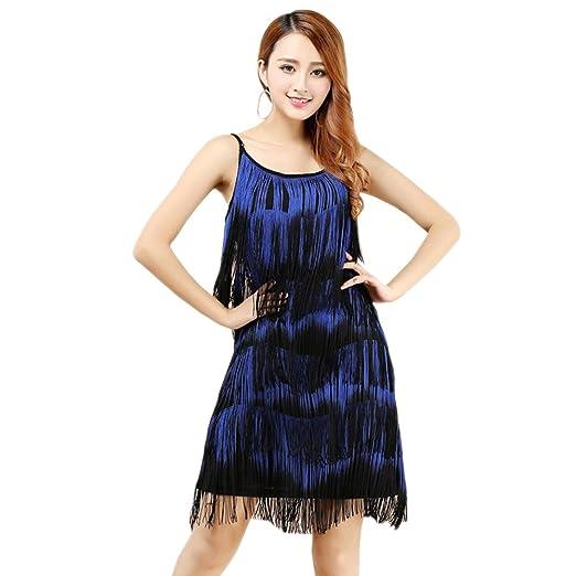 dfb4da42cb Amazon.com: KINDOYO Women Latin Dress Fringed Tassel Ballroom Rumba ...