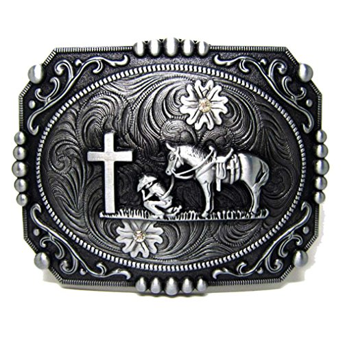 Antique Cross Belt (MASOP Vintage Pattern Horseman Cross Rectangle Belt Buckles for Women)