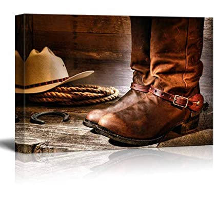 Canvas Wall Art American West Rodeo Cowboy Pair of Traditional Leather  Boots with Authentic Ranching Spurs 0bfea98c762d