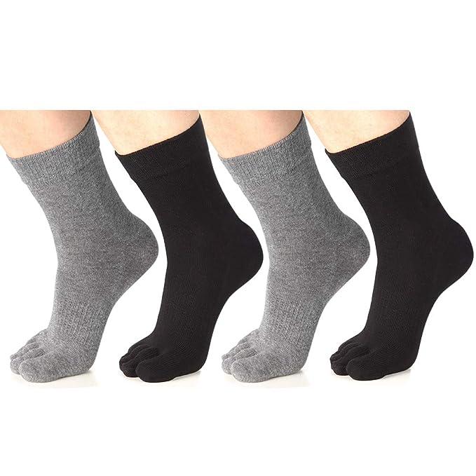 f6562678d82db Meaiguo Toe Socks Running Five Finger Crew Cotton for Men Women 4 Pack