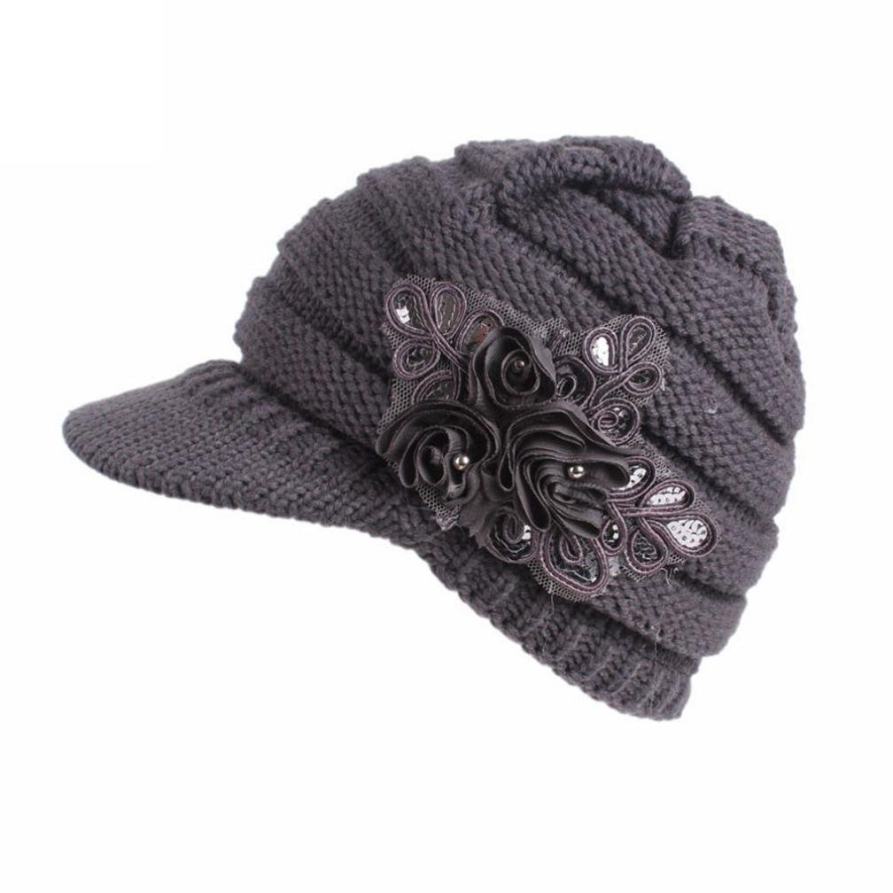 Women Ladies Winter Knitting Hat Warm Artificial Wool Snow Ski Caps With Visor (Gray)
