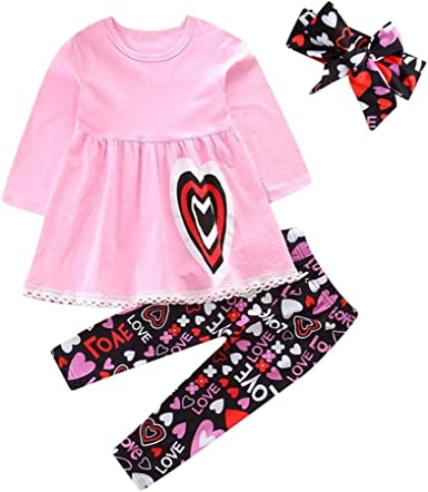 Sinhoon Valentines Day Outfit Baby Kids Girl Red Long Sleeve Dress Heart Print Pants Set with Headband